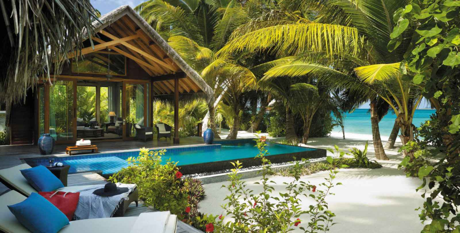 Stay in a jungle villa at the gay friendly Maldives Shangri La Villingili Resort.