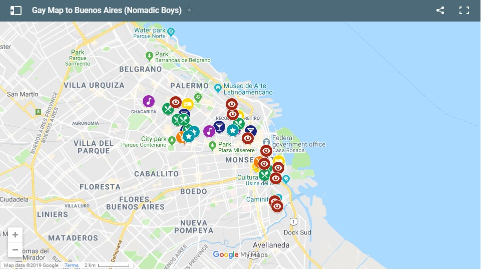 Our map showing all the best gay hotels, gay bars, gay clubs, gay saunas, gay friendly restaurants and things to do in Buenos Aires!