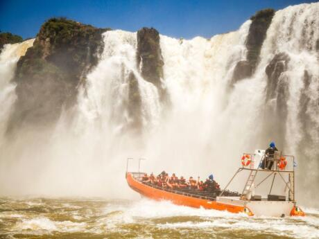 An exhilarating experience going on a boat ride under the Iguazu Falls!