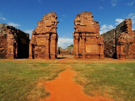Visit the San Ignacio Jesuit Mission ruins on a day trip from Iguazu Falls.