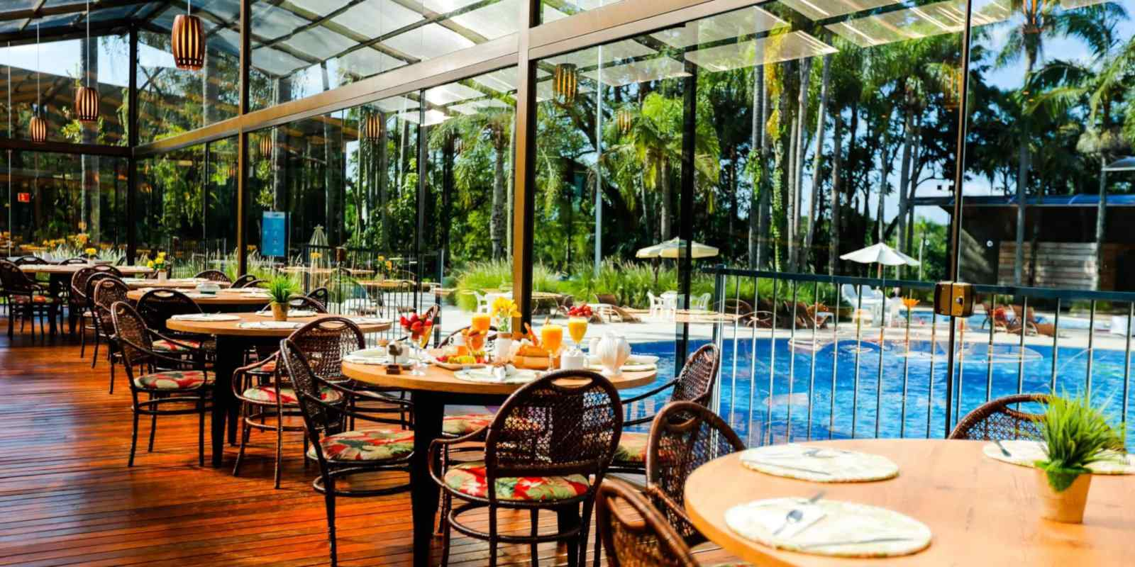 Gay friendly accommodation near Iguazu Falls - the Vivaz Cataratas Hotel Resort has a lovely poolside restaurant.