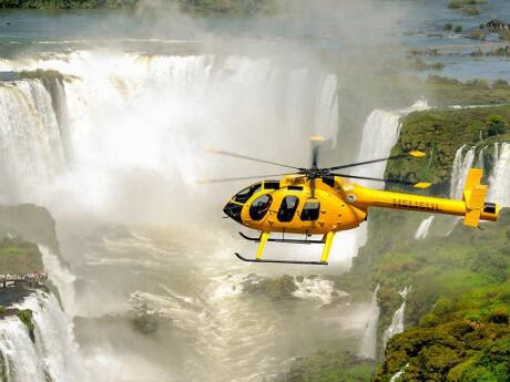 Stunning views of the Iguazu Falls from a helicopter!