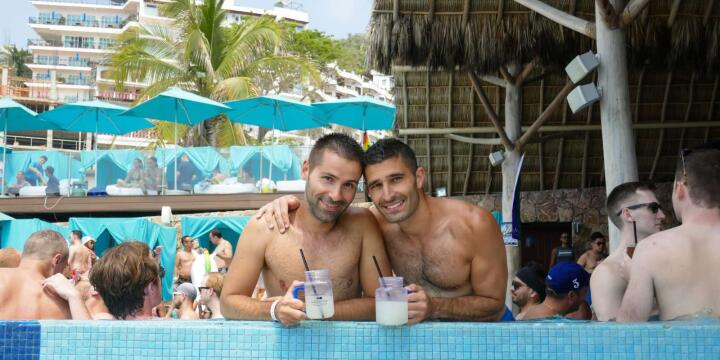 Hanging out in the pool at the Mantamar gay beach club pool-party, Puerto Vallarta.