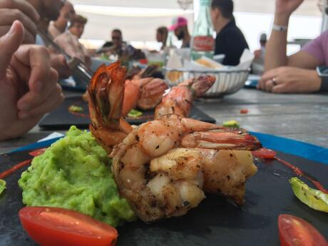 Delicious seafood at the Sapphire Ocean gay beach club in Puerto Vallarta.