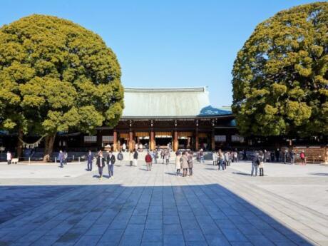 The Meiji Shrine in Tokyo is dedicated to the deified spirits of Emperor Meiji and his wife, Empress Shōken.
