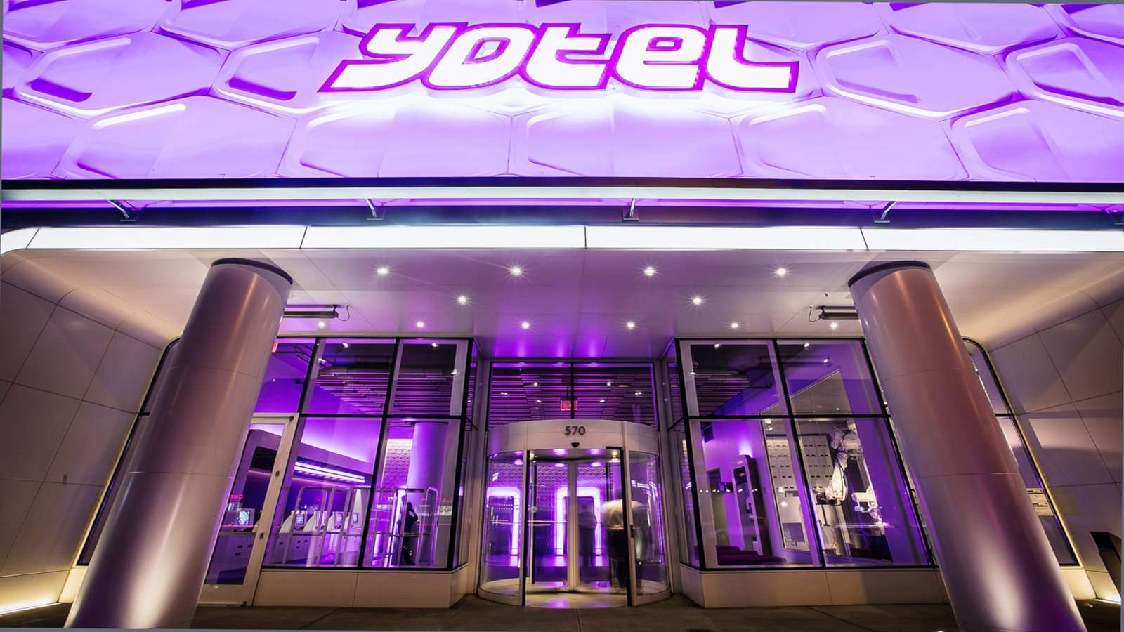 Gay travellers to New York will love the purple everywhere at New York's incredibly futuristic Yotel.