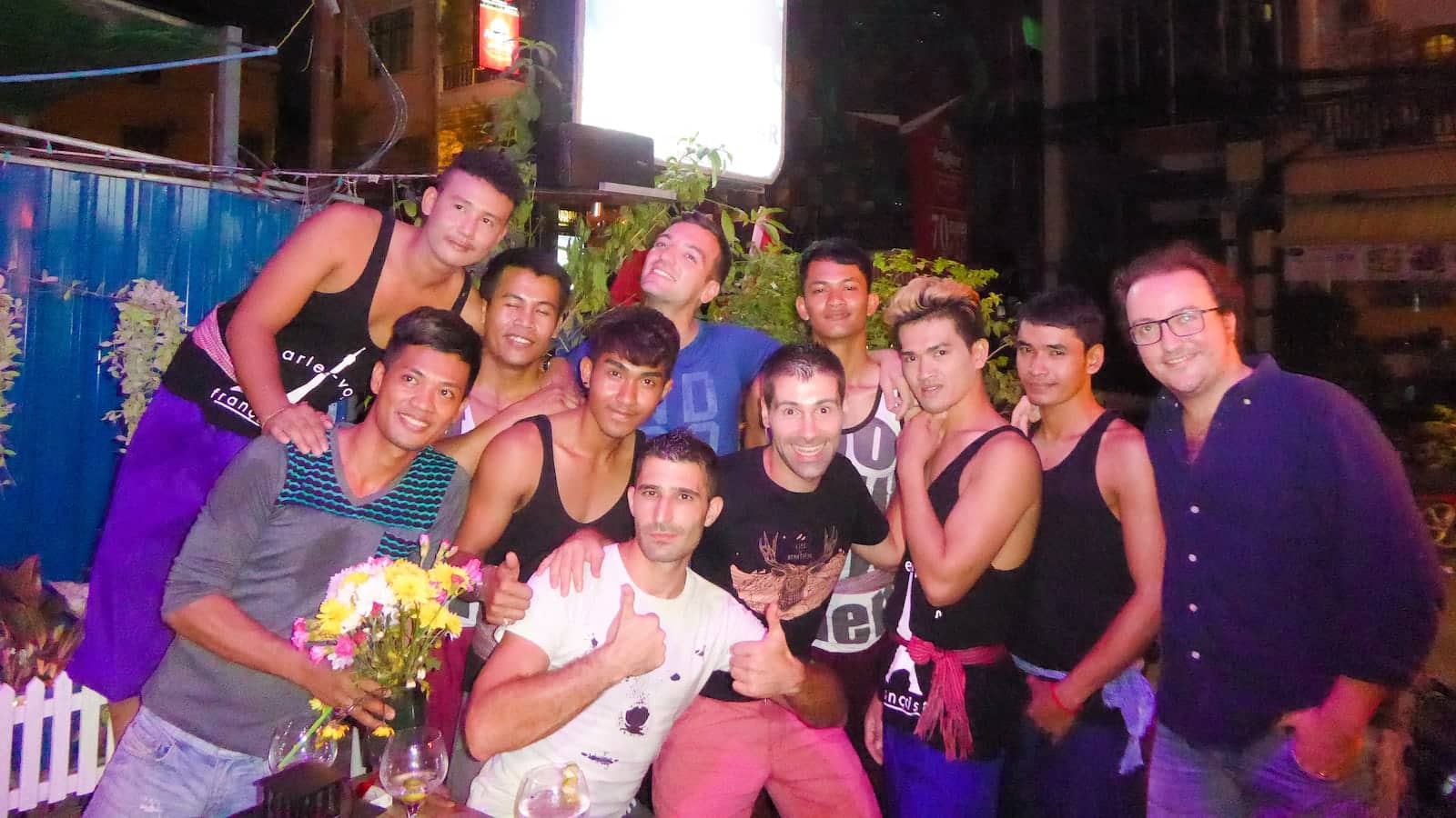 Group photo at Space gay bar in Phnom Penh