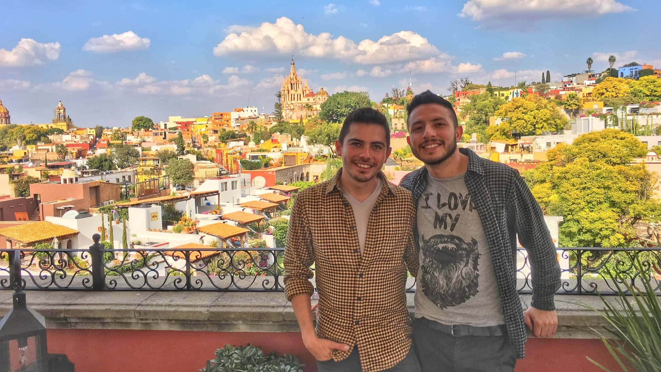 Gay couple in San Miguel de Allende Mexico