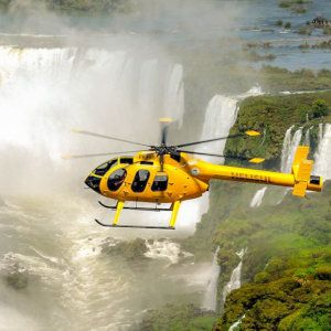 An incredible way to see Iguazu Falls is from above on a helicopter ride!