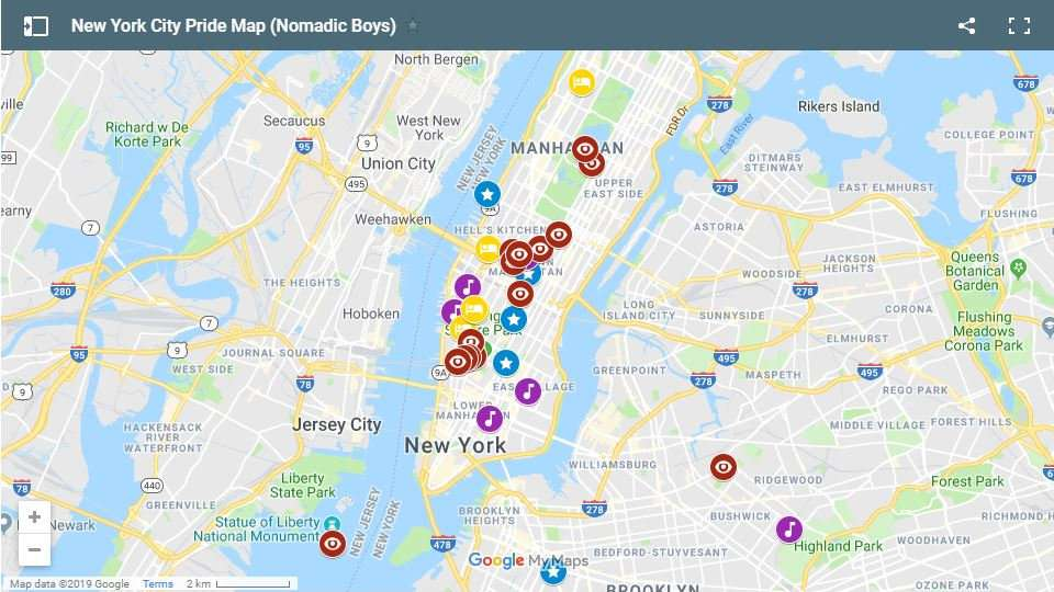 Our gay map showing all the best gay parties, events, places to stay and things to do during Pride in New York City.