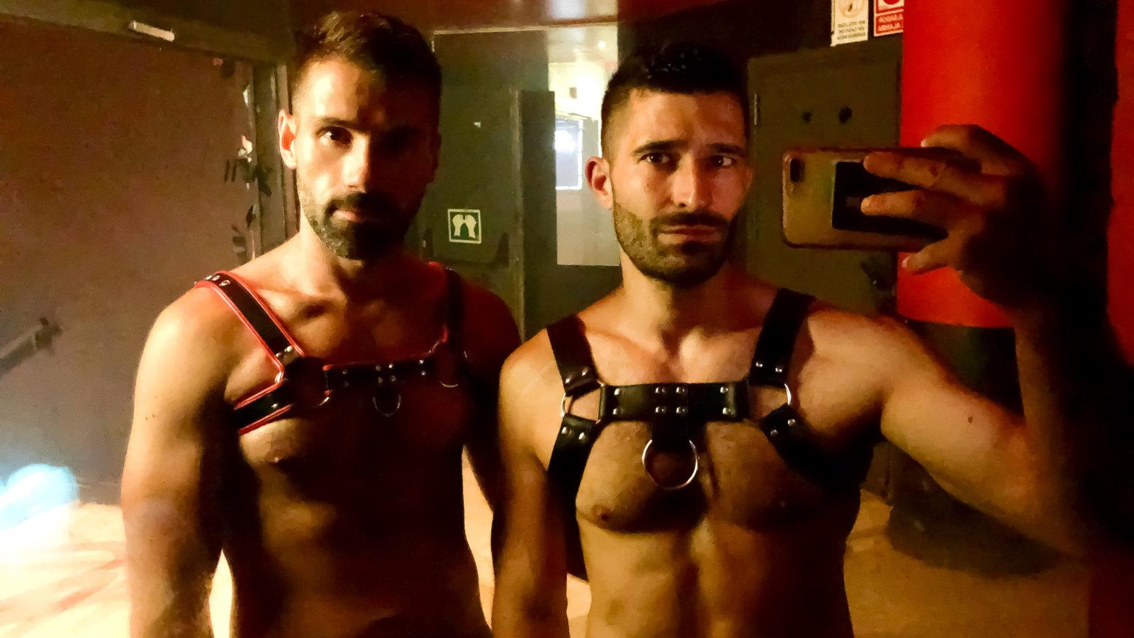 Wearing our harnesses at Theatron gay club in Bogota