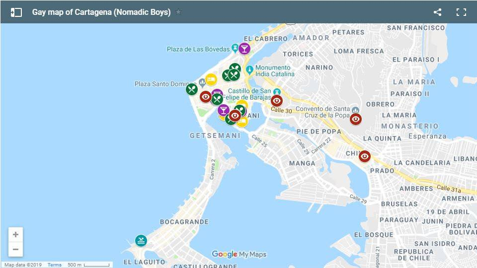 Find out all our favourite gay clubs and bars as well as places to stay and things to do in Cartagena, Colombia with this handy map