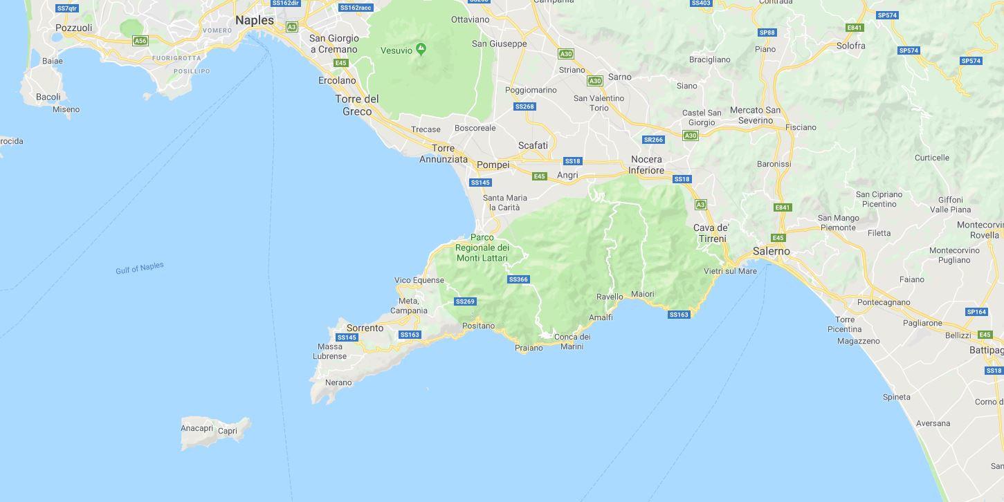 The Amalfi Coast and Capri Island are located below Naples and Pompei