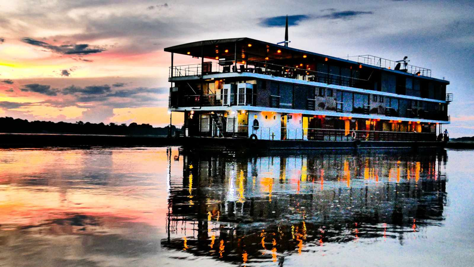 The Anakonda riverboat with one of many beautiful Amazon sunsets