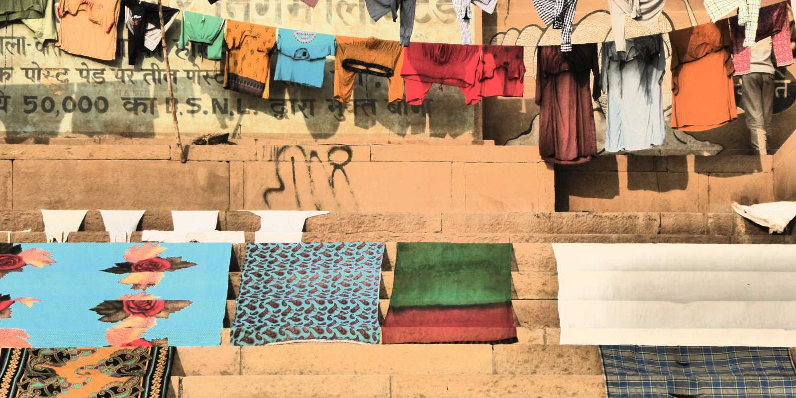 Many locals use the Ganges to wash laundry, which looks very pretty drying beside the river