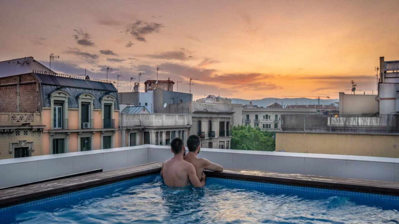 Sky Bar gay bar of Axel gay hotel in Barcelona