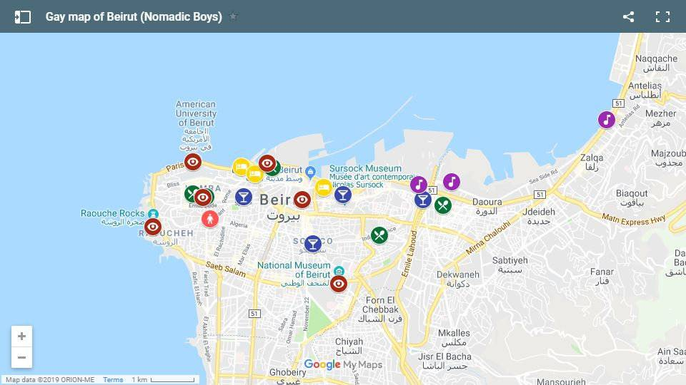 A map of our favourite gay places to stay, eat, drink and explore in Beirut