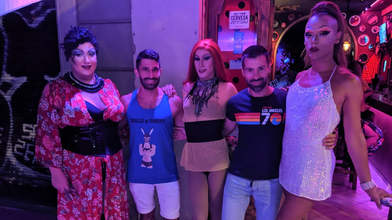Drag queens of the GinGin gay bar in Barcelona