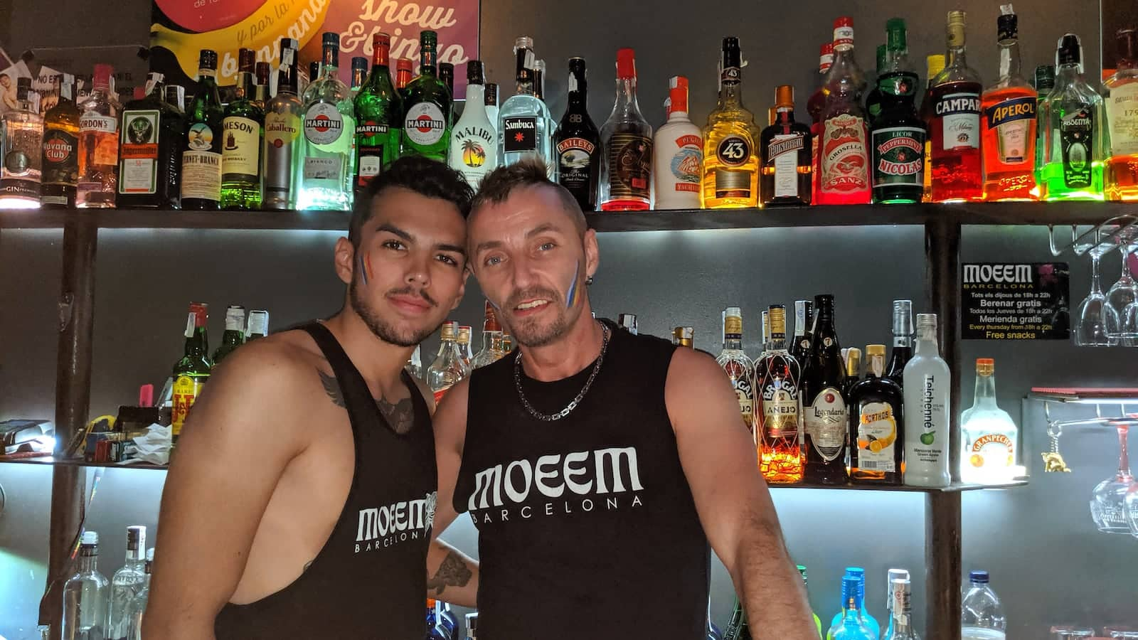 Moeem gay bar Barcelona handsome barmen