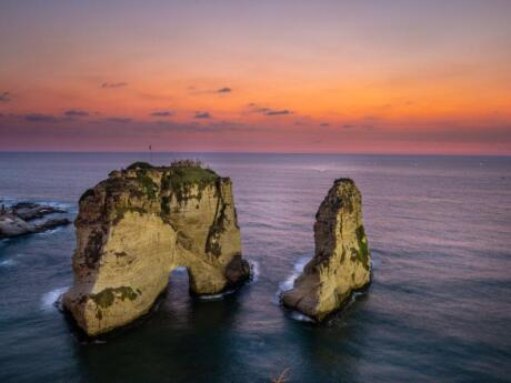 One of the most well-known sights in Beirut are the Pigeon Rocks located just off the coast of the city