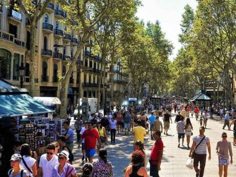 Las Ramblas or La Rmabla in Barcelona is a long and busy street with lots of shopping opportunities