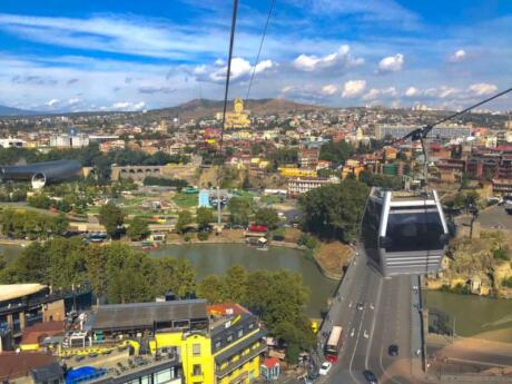 Riding the Funicular to the Mother Georgia statue on Sololaki Hill is an awesome way to enjoy the views over Tbilisi