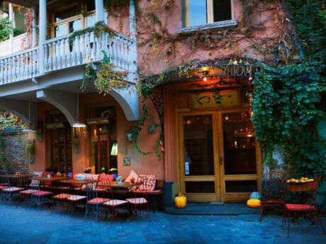Cafe Leila in Tbilisi does delicious vegan and vegetarian cuisine in a beautifully romantic setting