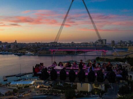 For a truly unforgettable dining experience, you can eat a decadent seven course meal while suspended from a crane on Malta's Dinner in the Sky