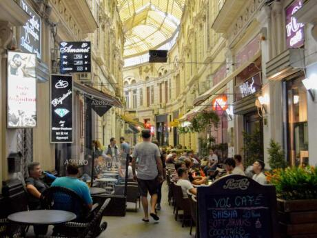 The cool covered passageway of Pasajul Macca Vilacrosse is filled with great cafes and restaurants