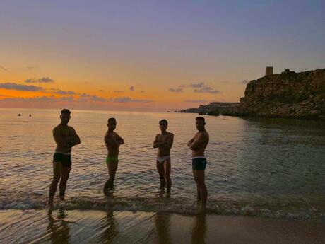 Our favourite beach on Malta is Riviera Beach, known for it's amazing sunsets and being a popular spot with local gay guys