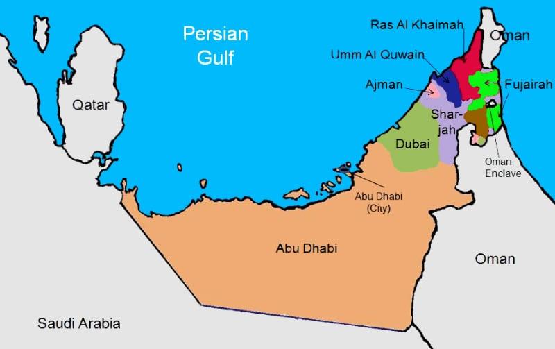 UAE map of the Emirates