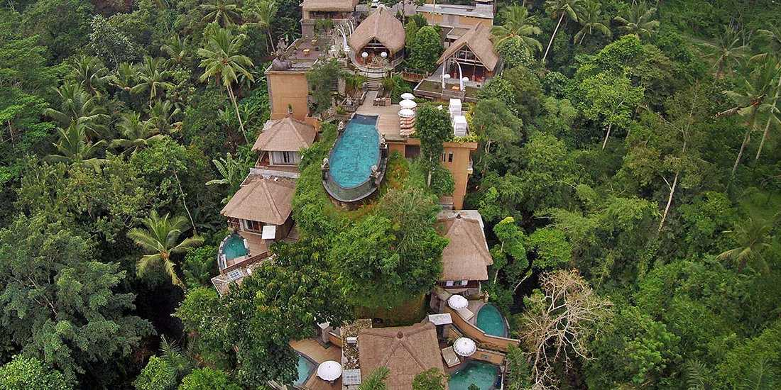 The incredible Kayon Resort in Bali is gay friendly and adults-only, plus it looks like a giant treehouse!