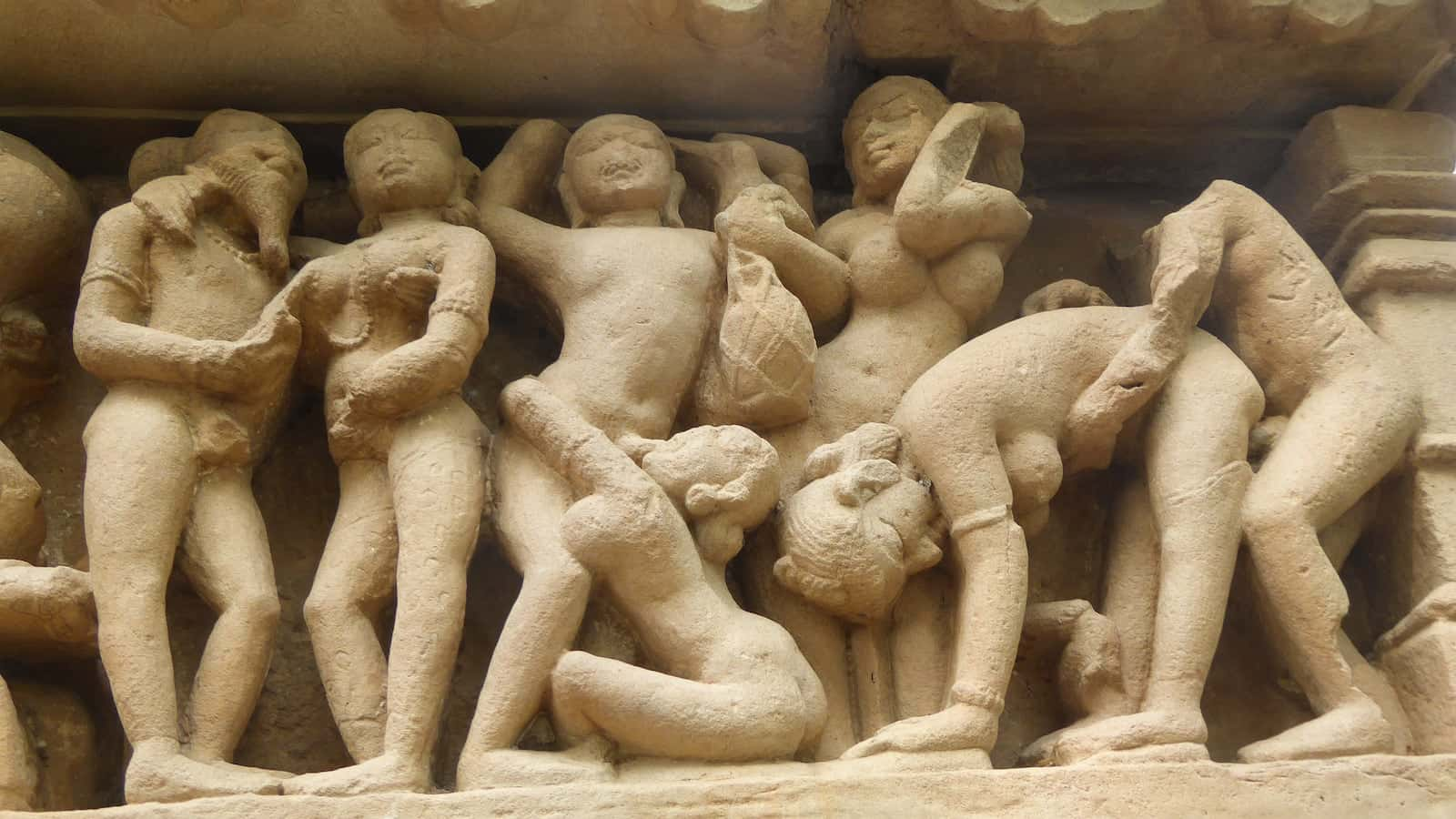 The very insightful erotic carvings at the Khajuraho Temples