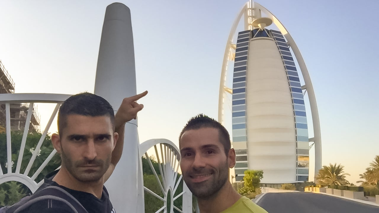 Gay couple in Dubai exploring Palm Jumeirah