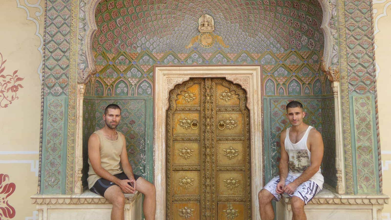 Gay couple exploring the City Palace of Jaipur
