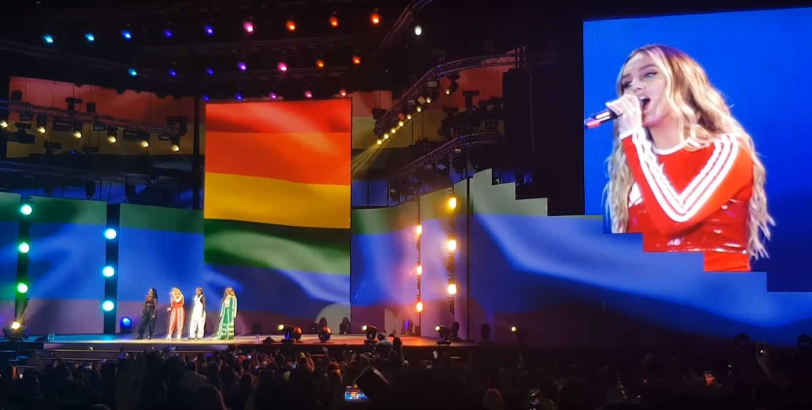 Little Mix performing in Dubai with rainbow flag