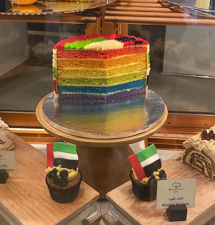 Gay rainbow cake in Dubai Walnut Grove Cafe