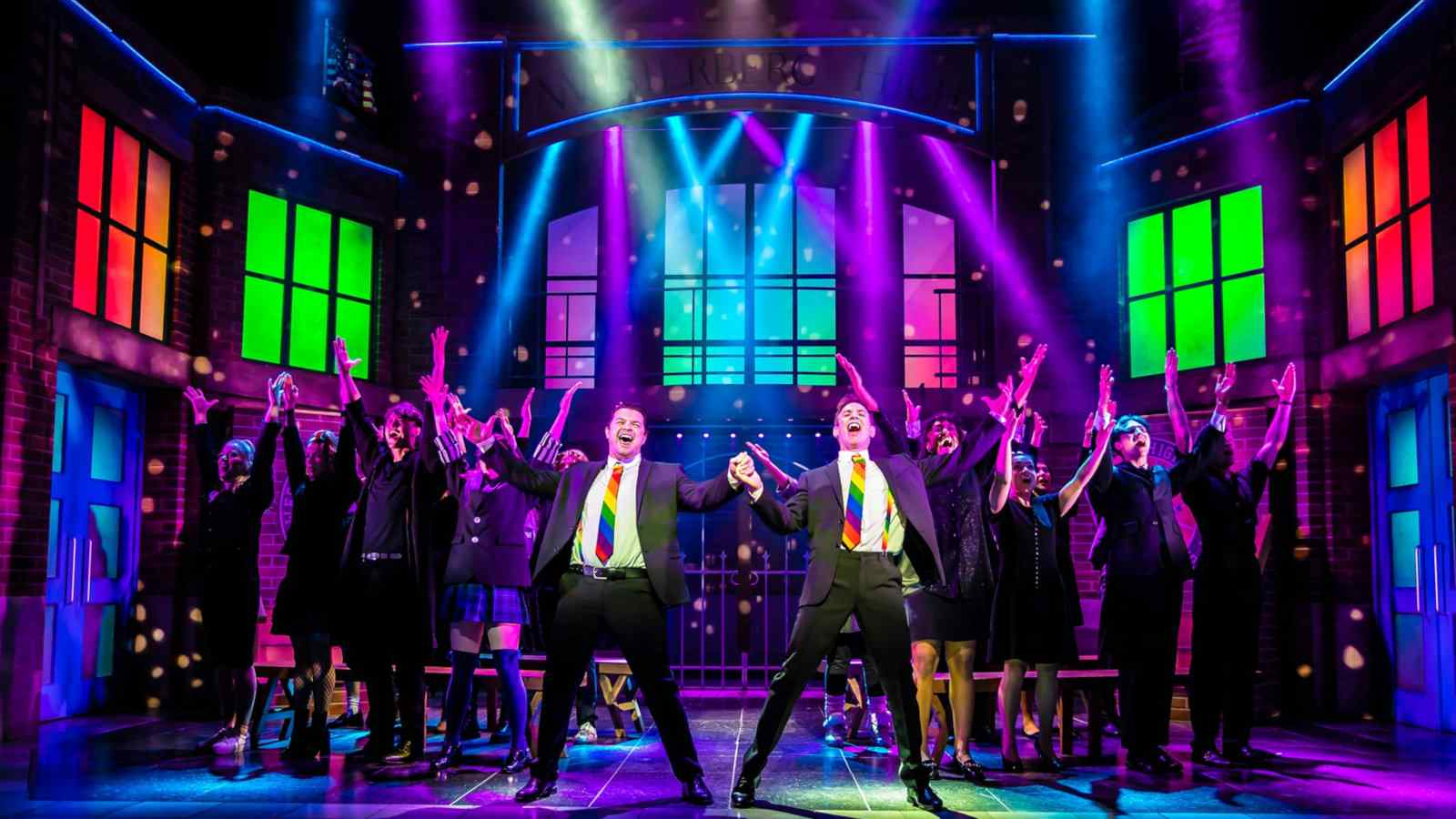 Heathers the Musical doesn't feature gay characters but it's super camp, colorful and does have one amusing homosexual scene