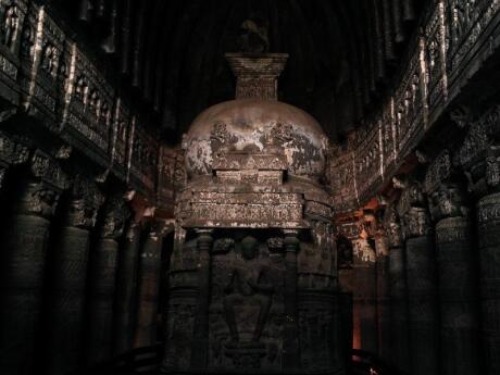The Ajanta Caves in India are ancient, sacred and filled with amazing paintings and sculptures
