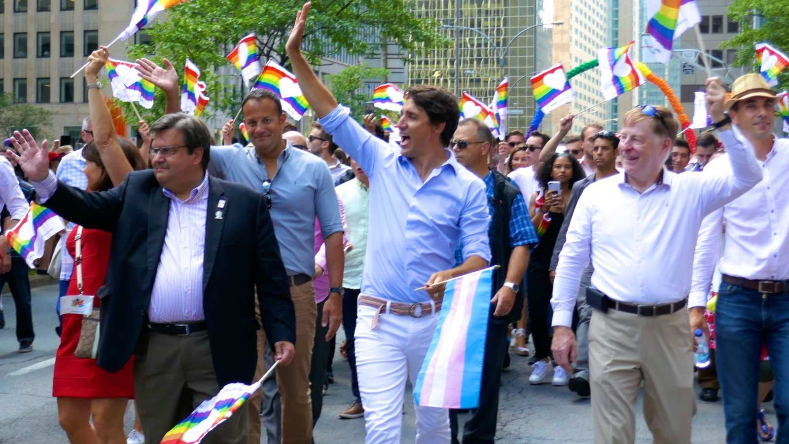 Justin Trudeau leading the Montreal gay Pride parade