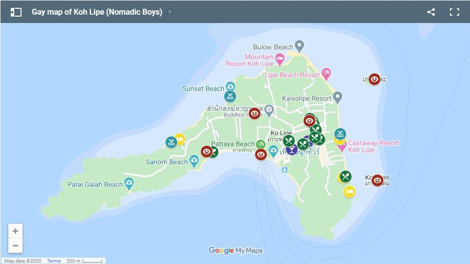 This is our gay map of Thailand's Koh Lipe showing all the best gay friendly accommodation, bars, restaurants and things to do