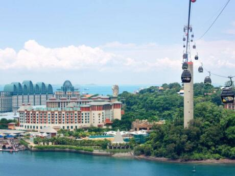 There are so many fun things to see and do on Singapore's Sentosa Island, starting with the aerial cable car ride to get there