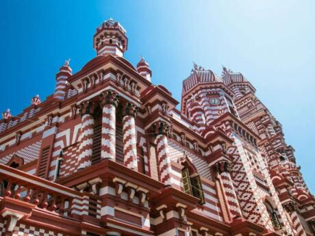 The Jami Ul-Alfar Mosque in Colombo is commonly known as the Red Mosque for it's incredible red and white striped exterior