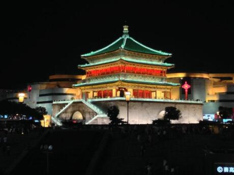 The Drum and Bell Towers are two traditional towers in Xi'an that look gorgeous at night all lit up