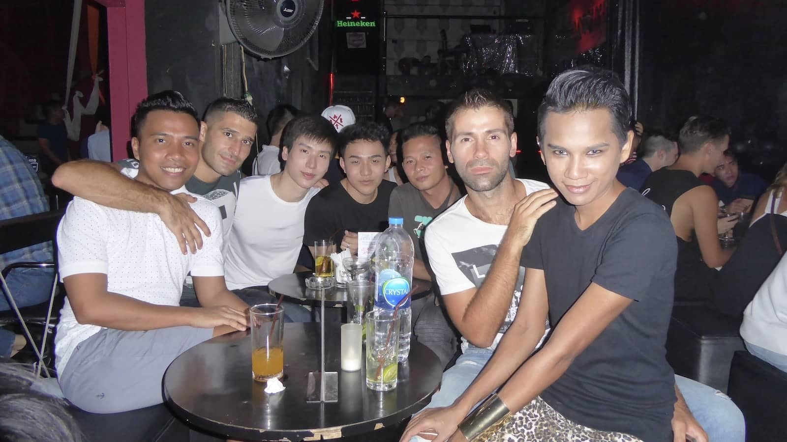 Hanging out with our friends at the Stranger gay bar in Bangkok