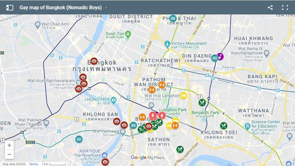 Our gay map of Bangkok showing where to find all the best gay hotels, bars, clubs, saunas, restaurants and more