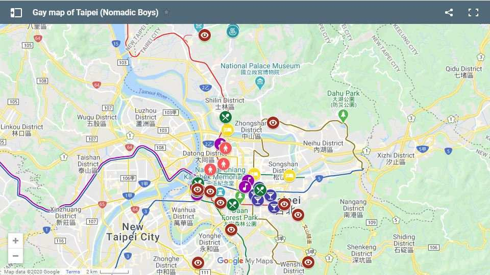 Our gay map of Taipei showing where all the best gay hotels, bars, clubs, saunas, and more are located