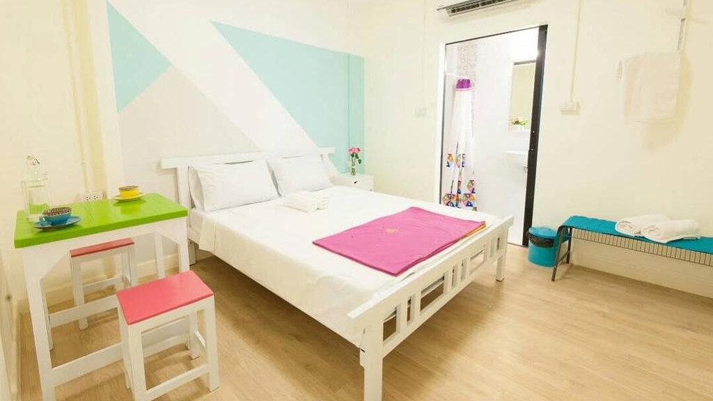 We love the colourful rooms at My Thai Hostel, one of the best gay hostels in Bangkok