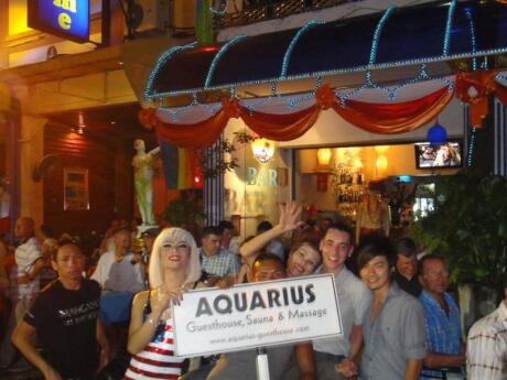 The bar, sauna and restaurant at Aquarius guesthouse are a popular spot for gay guys to start their evening in Phuket's gay Paradise Complex