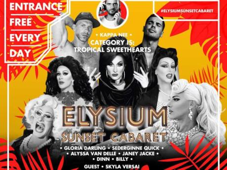 "Elysium Hotel on Mykonos is home to a fantastic gay bar which hosts ""Sunset Cabaret"" drag shows each night"